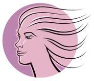 妇女面孔商标 免版税库存照片