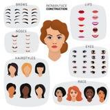 妇女面孔建设者传染媒介女性角色具体化创作头嘴唇引导并且注视例证套脸面护理 库存例证