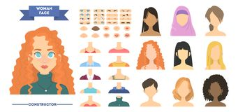 妇女面孔建设者 女性具体化创作或集合动画的 皇族释放例证