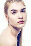 妇女面孔美丽的健康皮肤和长的头发 库存照片