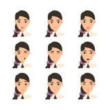 妇女面孔表示有黑发的 向量例证