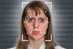 妇女面貌识别-生物统计的证明 免版税库存图片