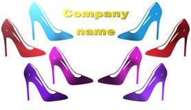 妇女鞋子例证,公司的商标 免版税库存照片