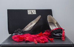 妇女鞋子内裤和钱包 图库摄影