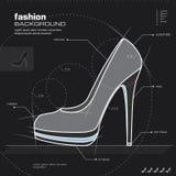 妇女鞋子设计。 向量。 库存图片