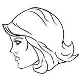妇女顶头旁边画象 库存图片