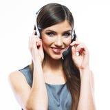 妇女顾客服务工作者,电话中心微笑的o画象 库存照片