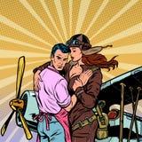 妇女飞行员向一个人,爱上一架减速火箭的飞机的一对夫妇说再见 皇族释放例证
