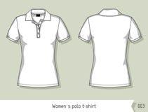 妇女马球T恤杉 设计的模板,容易地编辑可能由层数 免版税库存图片