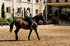 妇女骑在历史的Ro的马车手一匹棕色安达卢西亚的马 免版税库存照片