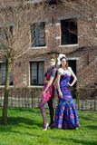 妇女高级女式时装礼服公园 免版税库存图片
