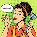妇女鲜美盘烹调 免版税库存照片