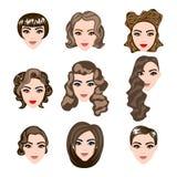 妇女,人头发,传染媒介发型剪影 库存照片