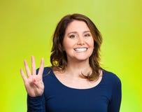 妇女,做四, 4次签署姿态用手 免版税库存图片