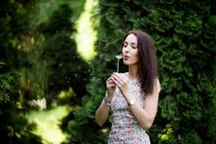 妇女,吹一个蒲公英的女孩在夏天庭院里 免版税库存照片