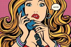妇女,坏谈话在电话 皇族释放例证