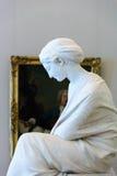 妇女,状态偏僻寺院的大理石雕塑 库存图片