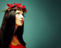 妇女,艺术方式纵向 图库摄影