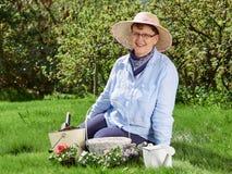 妇女从事园艺 免版税库存照片