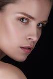 妇女年轻人的美丽的接近的纵向 时尚发光的轮廓色_,性感的光泽嘴唇 健康皮肤和黑暗眼眉 图库摄影