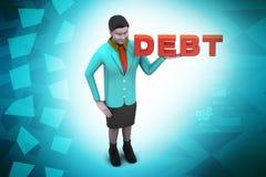 妇女以债务 免版税库存照片