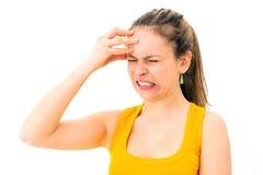 妇女以偏头痛 库存图片