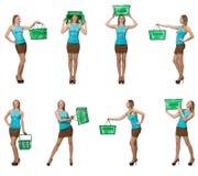 妇女综合照片有手提篮的 免版税图库摄影