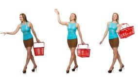 妇女综合照片有手提篮的 免版税库存照片