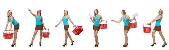 妇女综合照片有手提篮的 库存图片