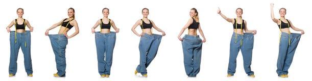 妇女综合照片节食的概念的 免版税库存图片