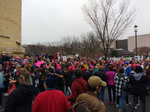 妇女`在华盛顿,抗议者的s 3月在美洲印第安人附近会集,华盛顿特区,美国的国家博物馆 免版税图库摄影