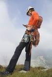 妇女登山人 免版税库存照片