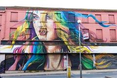 妇女头巨型街道画有流动的头发的在县路,华尔顿,利物浦的一个大厦 库存图片