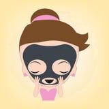 妇女满意对在面孔的面部黑面具秀丽健康的温泉的,在平的设计的例证传染媒介 免版税库存图片