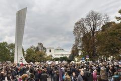 妇女黑抗议在华沙 免版税库存图片