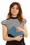 妇女-有一本书的成人学员在白色 免版税图库摄影