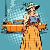 妇女崩溃汽车减速火箭滑稽 库存例证