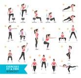 妇女锻炼健身,有氧和锻炼 皇族释放例证