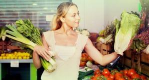 妇女购物的新鲜的绿色芹菜、韭葱和莴苣画象  免版税库存照片