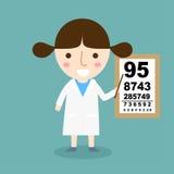 妇女医生-验光师视觉测试传染媒介 图库摄影