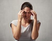 妇女头疼 免版税库存照片