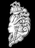 妇女头的Vecor例证有美好的发型的 库存例证