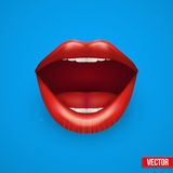 妇女嘴背景与开放嘴唇的 库存图片