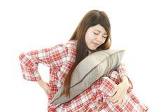 妇女以腰下部痛 免版税图库摄影