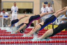 妇女蝴蝶在Salnikov杯期间的游泳竞争开始  免版税库存图片