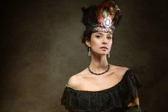 妇女画象历史礼服的 免版税库存图片