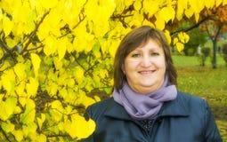妇女画象反对秋天树背景的  库存照片