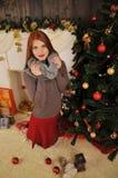 妇女画象圣诞节冬天童话 库存照片
