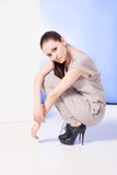 妇女画象坐在高跟鞋的腰臀部分 库存图片