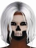 妇女画象有骨骼的组成 免版税库存照片